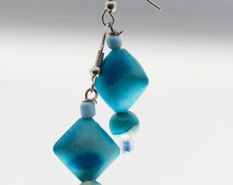 Teal Diamond Earrings