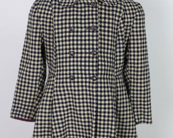 50s VINTAGE CHECKED COAT childrens navy and off white