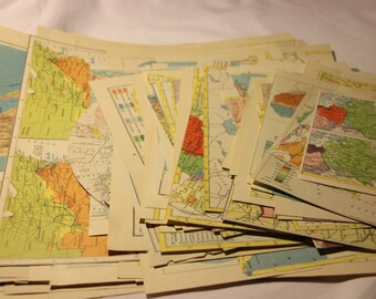Vintage Map Scrap Pack - 86 Count