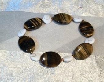 REDUCED Tigers Eye & Protective Eye of  Shiva Shells Necklace and Bracelet Set