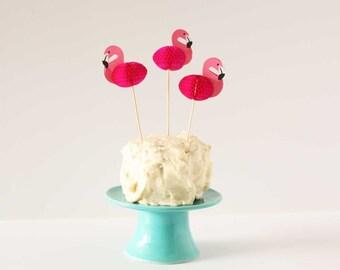 Flamingo party picks. Set of 12.  3D honeycomb flamingo cake topper. Cocktail pick. 3D Flamingo party decor. Tropical bird cupcake topper.