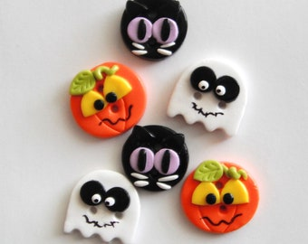 Halloween Friends handmade polymer clay buttons ( 6 )