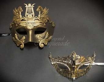 Gold Couples Masquerade Masks, His & Hers Masquerade Masks - Roman Mask and Laser Cut Masquerade Mask with Diamonds