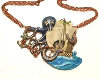 Kraken necklace - Norwegian - sea monster - ocean - vintage chain - octopus - giant squid - ship -unique -hand painted -American made brass