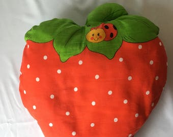 vintage Handmade STRAWBERRY SHORTCAKE PILLOW Ladybug Doll Plush 1980s