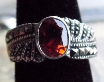 925 - Sterling Silver - Orange Color Glass Stone with Black Rhinestone - Solid Silver - Size 6.5 Approximately