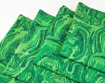 Cloth Dinner Napkins- Set of 4- 100% Cotton- Eco-Friendly - Marbled Emerald