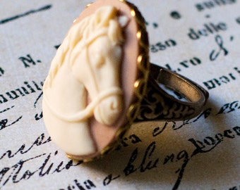 Horse Ring, Horse Cameo Ring, Cameo Jewelry, 4H Gift, Pony Ring, Horse Lover Gift, Cowgirl Jewelry, Rodeo Jewelry, JewelryFineAndDandy,SRAJD