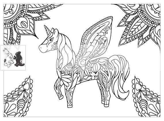 Artículos similares a Página para colorear de unicornio para adultos ...