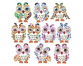 Art Deco Owls Combo Counted Cross Stitch PDF Pattern
