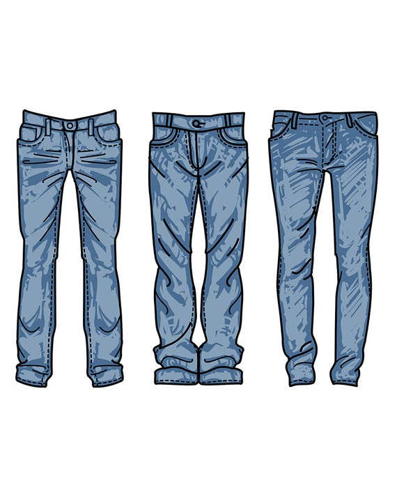 Hand drawn fashion Collection of menu0026#39;s jeans. clipart