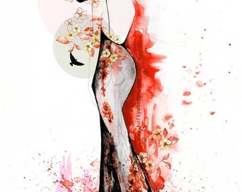 Red // Signed Giclée print // FASHION ILLUSTRATION by Holly Sharpe