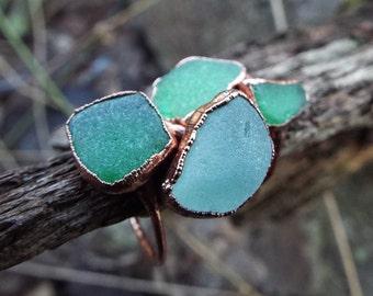 Sea glass ring, glass ring, Seaglass, Statementring, Seaglass ring, Seaglass jewellery, copper ring, Electroformed, rustic, Boho