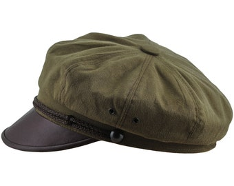 HARLEY - Vintage Style Motorcycle Hat Pure Cotton and Natural Leather - olive / brown