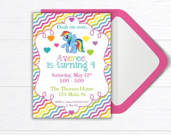 Rainbow Birthday Party Invitation, Birthday Party Invite, Rainbow Dash Party, PRINTABLE Birthday Party Invitation, Rainbow Birthday Party