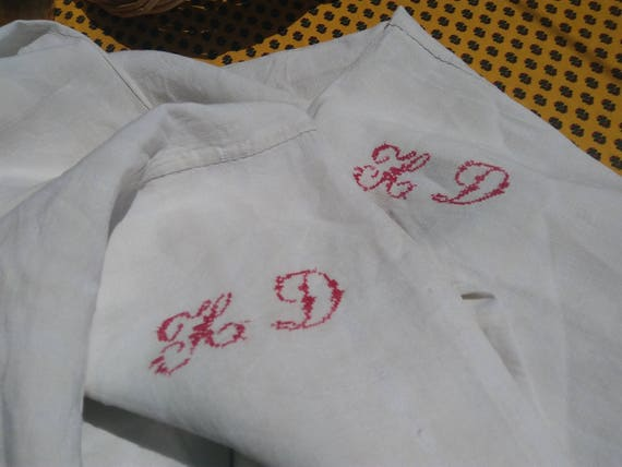 19th C. Flat Sheet White French Linen Two Red Monogram Bed Sheet Sewing Project Fabric Towel Pillow Curtain Tablecloth #sophieladydeparis