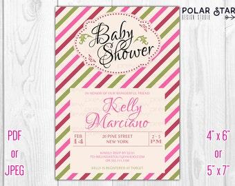 Vintage Striped Baby Shower, Bridal Shower Invitation - Printable Digital File (012)