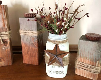 Rustic Mason Jar, Barn Star Decor, Primitive Decor, Painted Jars, Country  Home