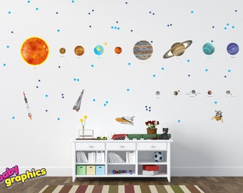 Large Solar System Wall Decals Removable Vinyl & Fabric  (all the Planets in the Solar System with names) - repositionable (by babygraphics