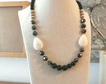 Black Gold Grey pearl choker