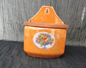 Vintage Kitchen Ceramic Salt Box Canister - Nordic Home - Sel Box  - French Kitchen Ceramic Storage Canister - Boite de Sel - Tole Painted