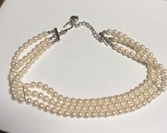 Carolee Faux Pearl multi-strand Necklace