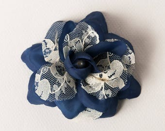Flower brooch Navy Blue and ivory lace