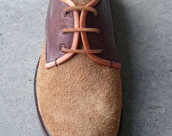 Two-Tone Brown leather Shoes 'Segun' . Suede and Plain leather with Suede Strip laces.