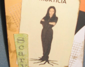 Morticia Halloween Card= Vintage Inspired