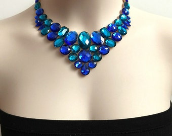 Sapphire Blue  and teal bib rhinestone tulle necklace