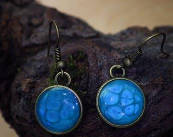 Bronze Earrings Metal effect paint and resin designs