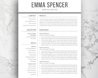 Resume layout Etsy