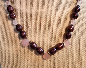 Purple Pearl Bead Necklace Rose Quartz Necklace Pearl Beaded Necklace