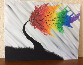 Rainbow Tree Acrylic Painting