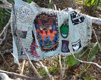 Custom Designed Adults Battle Vest Jean/Goth/Punk Clothing/Vegi/Moto/Motorcycle/Metal/Biker/Rocker/OOAK/BattleGlitta/80s style/Leather