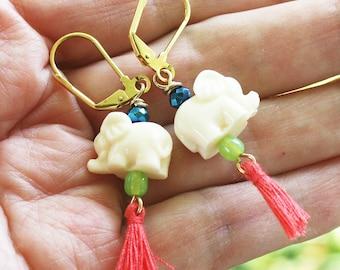 Pretty Little Pachyderm, Elephant Tassel Earrings, Bohemian Elephant, boho earrings, bohemian earrings, elephant earrings, elephant jewelry
