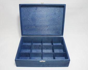 12 Compartments Blue Wooden Tea Box / Blue Storage Box / Wooden Keepsake Box / Jewelry Box / Collection Box / Personalized Box Option