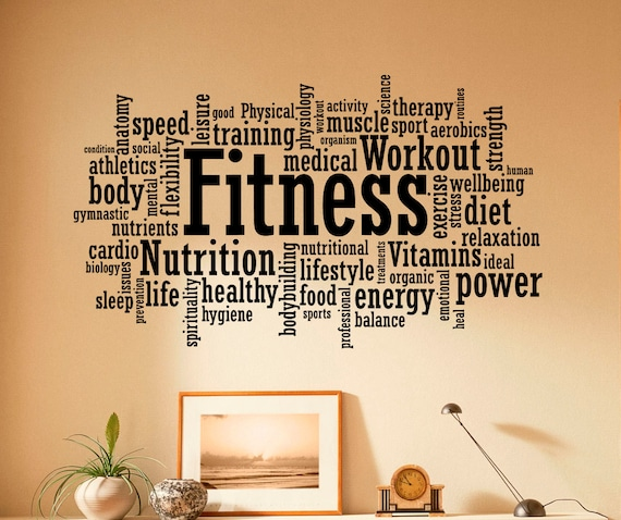 Fitness Wall Decal Vinyl Stickers Sport Gym Words Interior