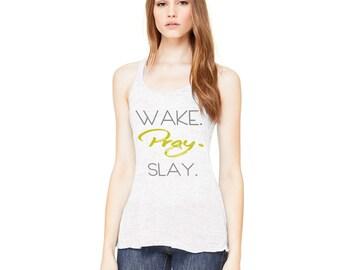 Wake, Pray and Slay Women's Flowy Racerback Tank