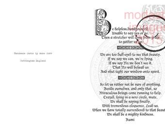 Rumi greeting card, artist card, handmade friendship card, handmade greeting card, Anniversary card, handmade card, Rumi quotation,