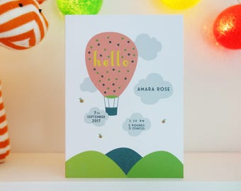 Personalised New Baby Hot Air Balloon Card