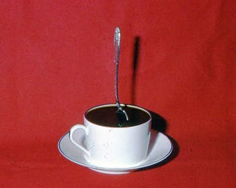 Abstract 35mm Kodachrome Color Slide Photo Spoon Coffee Cup Red Background