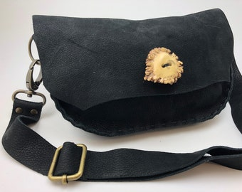 Black Leather Fanny Pack with Antler Button