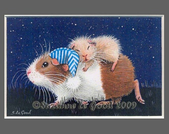 Guinea Pig art print limited edition from original painting, Dutch, night, stars, by English Artist Suzanne Le Good.