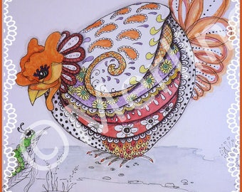 Wall decoration: hollow round zentangle and watercolor