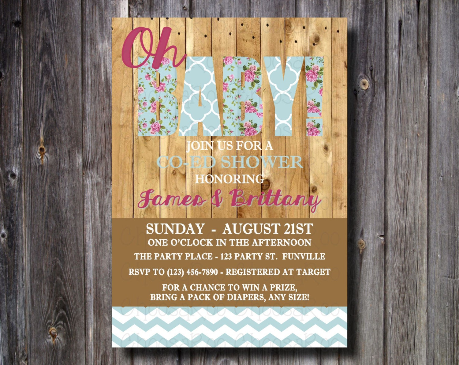 Oh BABY! Wood-Rustic Baby Shower Invitation- Personalized! Easy to ...