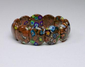Good quality vintage 1960s Italian Murano aventurine and millefleurs glass bracelet