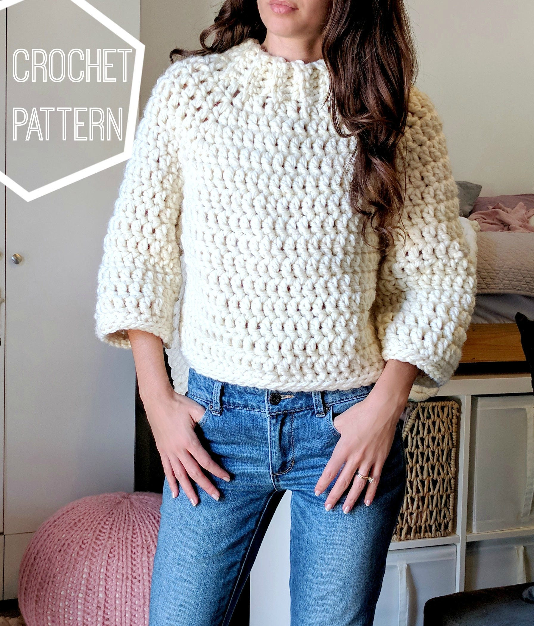 Chunky crochet sweater pattern crochet cropped sweater zoom bankloansurffo Choice Image