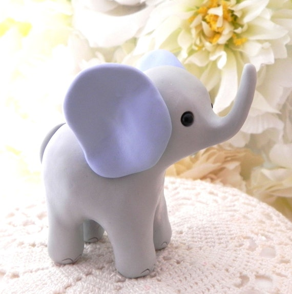 Elephant Baby Shower Cake Topper, Gray and Blue Baby Boy Elephant, New Mommy Gift, Keepsake, Nursery Decor