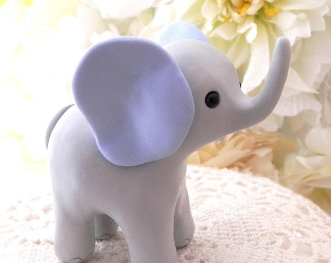 Elephant Baby Shower Cake Topper, Gray and Blue Baby Boy Elephant, New Mommy Gift, Keepsake, Nursery Decor